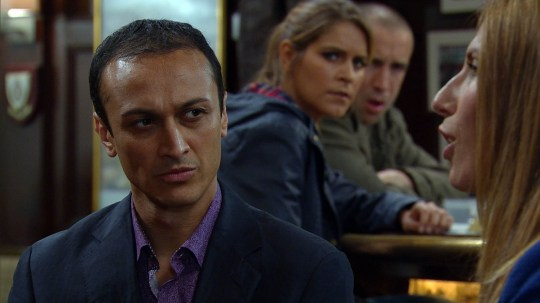 FROM ITV STRICT EMBARGO -TV Listings Magazines & websites Tuesday 23 June 2015, Newspapers Saturday 27 June 2015  Emmerdale - Ep 7226 Friday 3 July 2015  Rachel Breckle [GEMMA OATEN] is left encouraged when Megan Macey [GAYNOR FAYE] tells her to be in the pub at dinnertime, hoping it'll be something which will work in her favour for Archie's custody case, but she is left confused by the lack of fireworks. However, Megan fills Rachel and Sam Dingle [JAMES HOOTON] in on her long term plan which would put Jai Sharma [CHRIS BISSON] back in his box for good, but are they up for it?  Picture contact: david.crook@itv.com on 0161 952 6214 This photograph is (C) ITV Plc and can only be reproduced for editorial purposes directly in connection with the programme or event mentioned above, or ITV plc. Once made available by ITV plc Picture Desk, this photograph can be reproduced once only up until the transmission [TX] date and no reproduction fee will be charged. Any subsequent usage may incur a fee. This photograph must not be manipulated [excluding basic cropping] in a manner which alters the visual appearance of the person photographed deemed detrimental or inappropriate by ITV plc Picture Desk. This photograph must not be syndicated to any other company, publication or website, or permanently archived, without the express written permission of ITV Plc Picture Desk. Full Terms and conditions are available on the website www.itvpictures.com