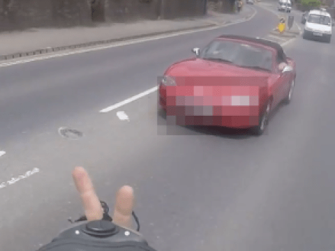 Instant karma for the cyclist who flipped the bird at a driver
