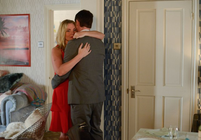 WARNING: Embargoed for publication until 09/06/2015 - Programme Name: EastEnders - TX: 16/06/2015 - Episode: 5086 (No. n/a) - Picture Shows: Charlie dances with Ronnie.  Ronnie Mitchell (SAMANTHA WOMACK), Charlie Cotton (DECLAN BENNETT) - (C) BBC - Photographer: Kieron McCarron