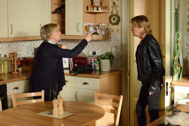 WARNING: Embargoed for publication until 23/06/2015 - Programme Name: EastEnders - TX: 02/07/2015 - Episode: 5095 (No. n/a) - Picture Shows: ***FORTNIGHTLIES PLEASE DO NOT USE (SOAP LIFE and ALL ABOUT SOAP) Shirley is shocked by Carol's outburst.  Carol Jackson (LINDSEY COULSON), Shirley Carter (LINDA HENRY) - (C) BBC - Photographer: Kieron McCarron