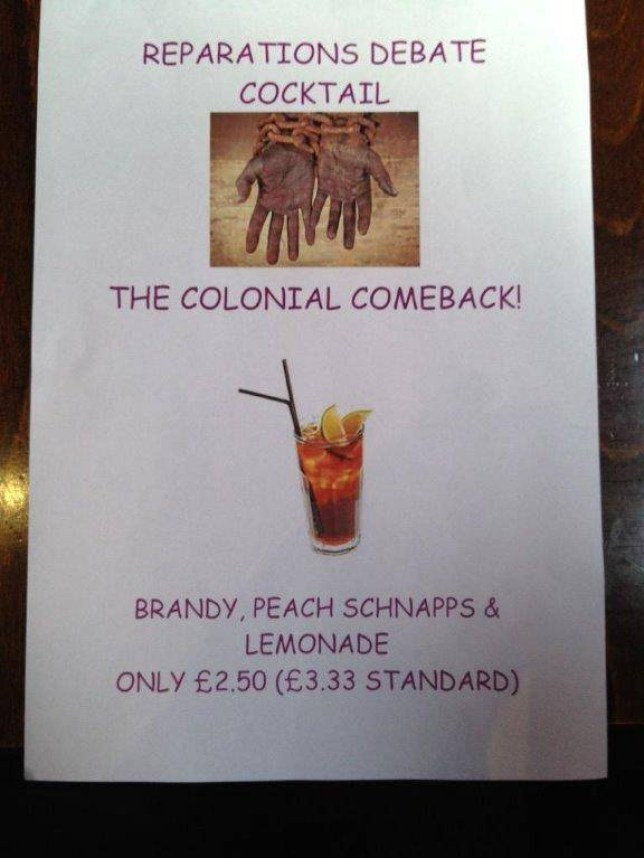 It has emerged that a new cocktail from the Oxford Union bar is beyond racist; drink entitled 'The Colonial Comeback'  Twitter