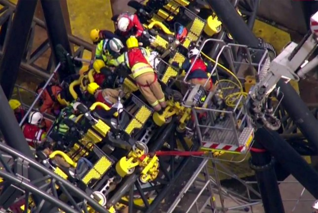 "Sky TV Pic shows: ""Smiler"" ride carriages crash at Alton Towers.nnRescue in operationnnnnPicture by Ben Jamming/ Pixel8000 07917221968"