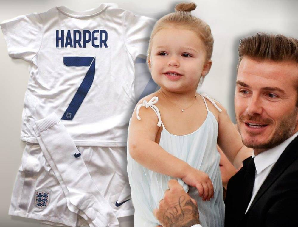 Harper Beckham receives football kit from England Women's World Cup team and gushing dad David can't wait to show it off