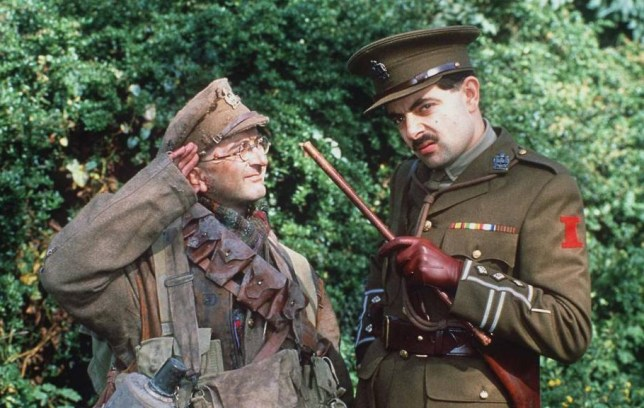Mandatory Credit: Photo by REX_Shutterstock (163170f).. TONY ROBINSON AND Rowan Atkinson.. BLACKADDER TV SERIES - 1989.. ..