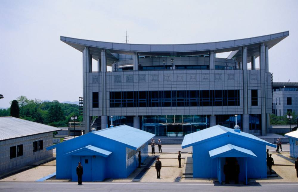 The DMZ buildings and border between North and South Korea, formerly the village of Punmunjon.