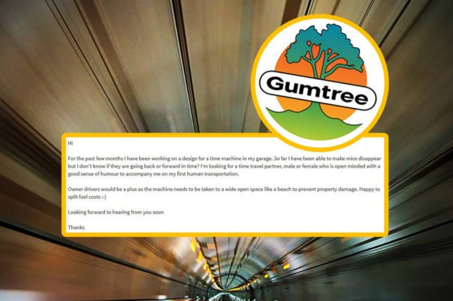 Someone posted a Gumtree ad for a time machine travelling partner