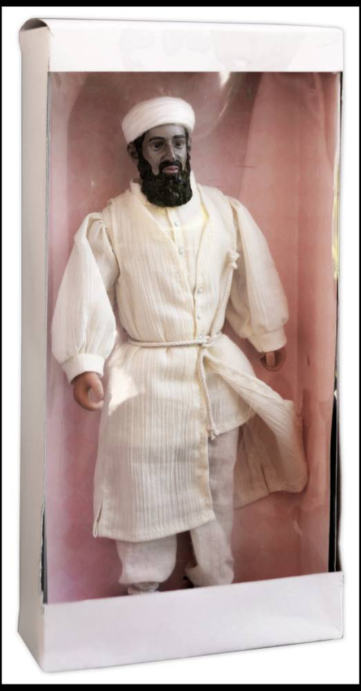 BNPS.co.uk (01202 558833) Pic: NateDSanders/BNPS A rare toy doll of Osama Bin Laden appearing as the Devil that was made by the CIA as part of a bizarre propaganda campaign during the war on terror has emerged for sale. The 12ins tall figures were to be distributed among children in Central Asia, including Afghanistan, to portray the Al Qaeda leader as demonic to scare them into rejecting the terrorist group behind the 9/11 attacks. Two of the dolls are held by the CIA but this version is owned by the son of Donald Levine, the creator of famed action toy GI Joe and who made the Bin Laden version. He is now selling the doll for an estimated £3,000 through Nate D. Sanders in LA.