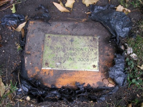 Baffled pensioner finds ashes of unknown man in garden