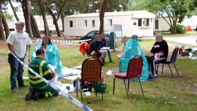Park.jpg Some of the 40 people being treated at the WildDuck Caravan Park in Belton after a chemical leak earlier.