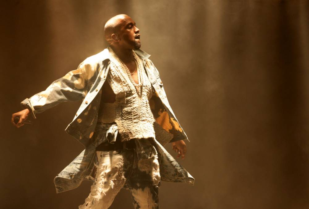 Kanye West performing on The Pyramid Stage at the Glastonbury Festival, at Worthy Farm in Somerset. PRESS ASSOCIATION Photo. Picture date: Saturday June 27, 2015. Photo credit should read: Yui Mok/PA Wire