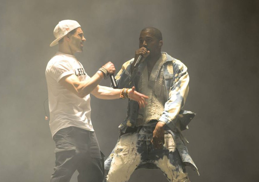 Mandatory Credit: Photo by Jonathan Hordle/REX Shutterstock (4883597cg)  Lee Nelson and Kanye West  Glastonbury Festival, Britain - 27 Jun 2015