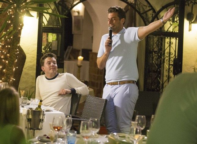 Picture Shows: James Bennewith, Diags, James Argent, Arg  June 07, 2015    'TOWIE' star James 'Arg' Argent hops on the mic once again and serenades a restaurant full of diners, during filming of their reality series at Nueva Kaskada in Marbella, Spain.    Non Exclusive  WORLDWIDE RIGHTS    Pictures by : FameFlynet UK © 2015  Tel : +44 (0)20 3551 5049  Email : info@fameflynet.uk.com