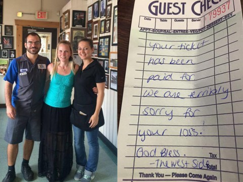 Kind waitress pays couple's bill after finding out they'd lost their baby