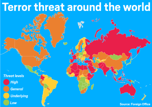 Terror threats around the world as ranked by the Foreign Office (Picture: Metro)