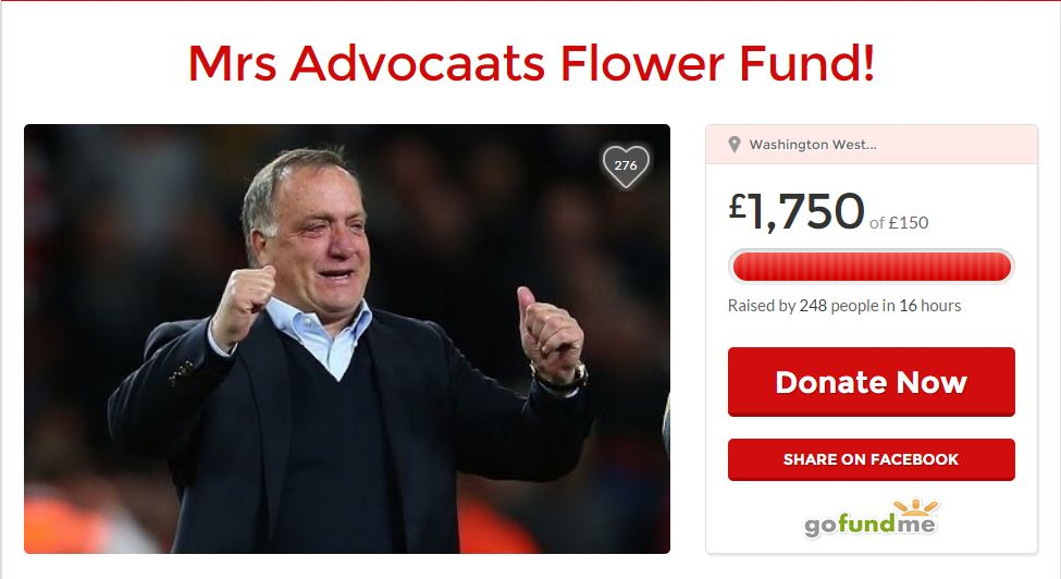 Sunderland fans raise £1,750 to buy Dick Advocaat's wife flowers after she allows Dutchman to remain manager