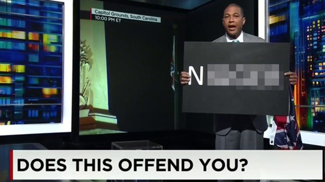 "He asked the audience, ""Does this offend you?"" (Picture: CNN)"