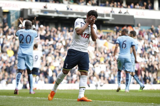 Football: Tottenham's Paulinho looks dejected after a missed chance Andrew Couldridge/Reuters
