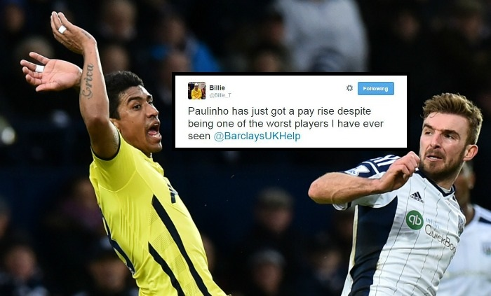 Tottenham's Paulinho reported to Barclays for fraud on Twitter, they actually reply