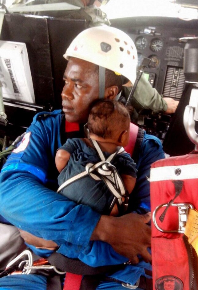 The five-month-old was completely unharmed (Picture: AFP)