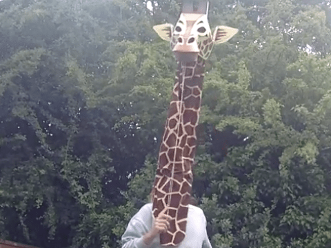 Just a man dressed as a giraffe miming to Marvin Gaye's Let's Get It On
