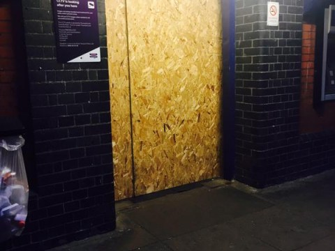 Commuters left unable to use train station after thieves board up entrance