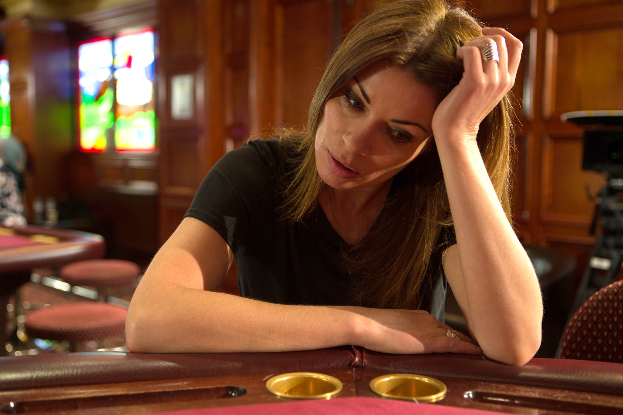 FROM ITV STRICT EMBARGO -TV Listings Magazines & websites Tuesday 7 July 2015, Newspapers Saturday 11 July 2015 Coronation Street - Ep 8686 Friday 17th July 2015 - 1st Ep Carla Connor [ALISON KING] cancels her shopping trip with Michelle and heads to the casino. On a winning streak, Carla gambles all her chips and loses the lot.    Picture contact: david.crook@itv.com on 0161 952 6214 Photographer - Joseph Scanlon This photograph is (C) ITV Plc and can only be reproduced for editorial purposes directly in connection with the programme or event mentioned above, or ITV plc. Once made available by ITV plc Picture Desk, this photograph can be reproduced once only up until the transmission [TX] date and no reproduction fee will be charged. Any subsequent usage may incur a fee. This photograph must not be manipulated [excluding basic cropping] in a manner which alters the visual appearance of the person photographed deemed detrimental or inappropriate by ITV plc Picture Desk. This photograph must not be syndicated to any other company, publication or website, or permanently archived, without the express written permission of ITV Plc Picture Desk. Full Terms and conditions are available on the website www.itvpictures.com