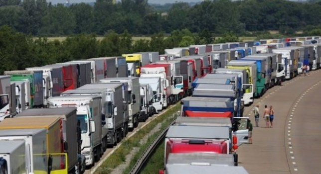 A long queue of lorries and cars formed (Picture: PA)