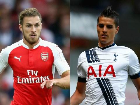 Arsenal's Aaron Ramsey and Tottenham's Erik Lamela battle it out for UEFA Goal of the Season