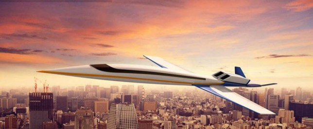 Spike S-512..Son of concorde? Firm reveals latest design that could travel from London to New York in THREE hours..http://www.spikeaerospace.com/spike-aerospace-unveils-updated-spike-s-512-supersonic-jet/..