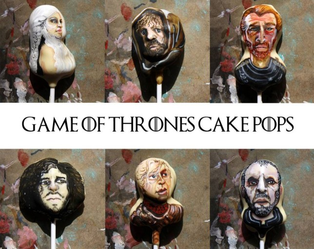 """MANDATORY CREDIT: Lou Lou P's Delights/REX Shutterstock. Only for use in this story. Editorial Use Only. No books, advertising or merchandising without photographer's permission  Mandatory Credit: Photo by P's Delights/REX Shutterstock (4906800d)  Game of thrones cake pops  Game of Thrones cake pops, Leeds, Britain - 15 Jun 2015  FULL COPY: http://www.rexfeatures.com/nanolink/qojx  Game of Thrones fans will rejoice to know they can now eat their favourite characters from the series.   A Leeds-based baker has carefully crafted six different Game of Thrones edible cake pops.  The cake pop characters include Jon Snow, Tyrion Lannister, Daenerys Targaryen, Stannis Baratheon, Brienne of Tarth and Jonah Mormont.  Cake pop creater Lou, from Lou Lou P's Delights, said: """"Every so often a TV series or someone from pop culture will scream out to be cake popped. I've 'popped' so many of my faves: Walt and Jesse from Breaking Bad to my favourite Horror movie Stars, crikey I've even popped Kim Kardashians 'Paper' bottom! So it was only a matter of time before I got round to popping some of the Game of Thrones Characters."""""""