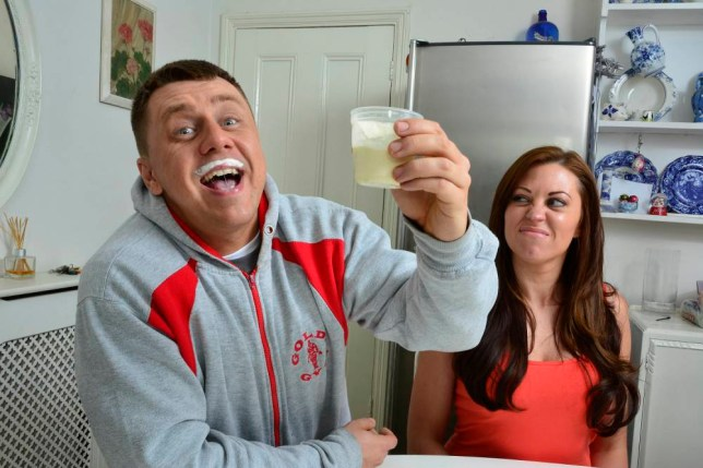 *** EXCLUSIVE - VIDEO AVAILABLE *** WATFORD, UNITED KINGDOM - JUNE 11: Danny Davidson, 32, raises his glass to camera with a milk moustache as his wife Debbie looks on, on June 11, 2015, in Watford, England.  A FITNESS fanatic drinks human BREAST MILK in a bid to get a buff bod. Danny Davidson, a 32-year-old personal trainer from Essex, drinks 100ml of the thick liquid several times a week to compliment his training regime. He believes breast is best when it comes to building muscle as the milk contains growth hormones to accelerate his bulk. Despite the lack of scientific evidence to support his theory Danny claims it is the secret to his toned physique. PHOTOGRAPH BY John Robertson / Barcroft Media UK Office, London. T +44 845 370 2233 W www.barcroftmedia.com USA Office, New York City. T +1 212 796 2458 W www.barcroftusa.com Indian Office, Delhi. T +91 11 4053 2429 W www.barcroftindia.com