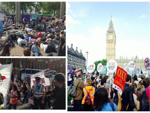 'Austerity Kills': A lot of people played dead outside of Parliament to protest Budget cuts