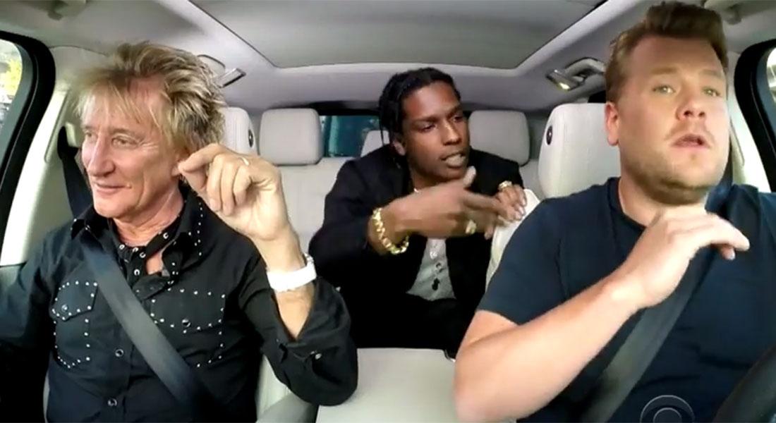 James Corden's carpool karaoke just got a touch cooler as A$AP Rocky joined Rod Stewart