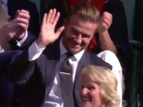 David Beckham somehow caught a stray shot at Wimbledon 2015