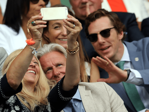 Benedict Cumberbatch is up to photobombing no good at the Wimbledon Final