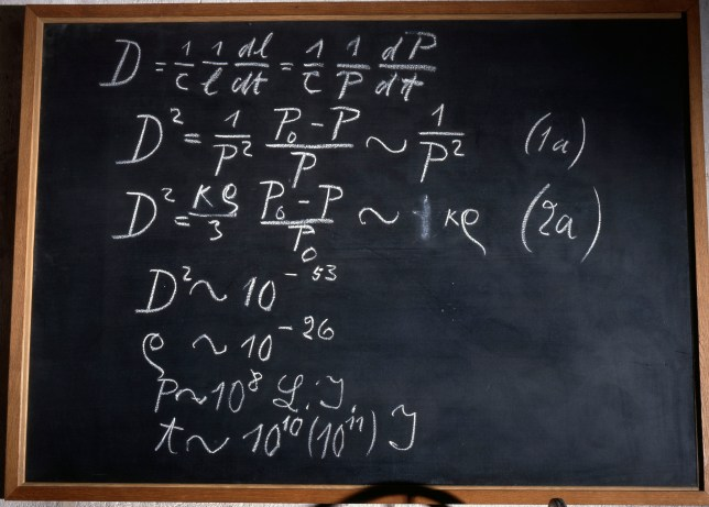 BJ3T1H Einstein's blackboard used at the second of three Rhodes Memorial Lectures, Oxford, 1931. Artist: Werner Forman