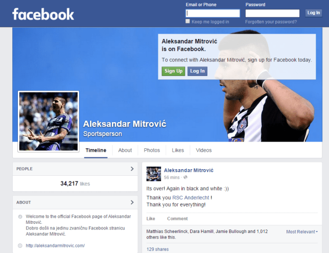 Aleksander Mitrovic is on his way to Newcastle (Picture:Facebook)