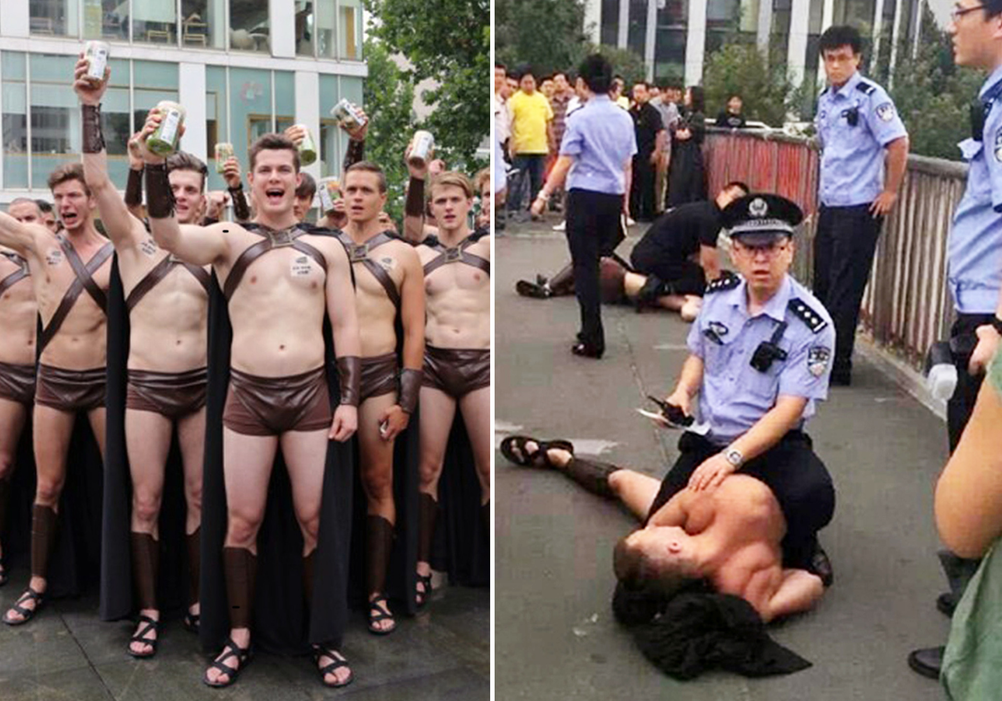 Half-naked Spartan advertising stunt backfires when police start arresting everybody