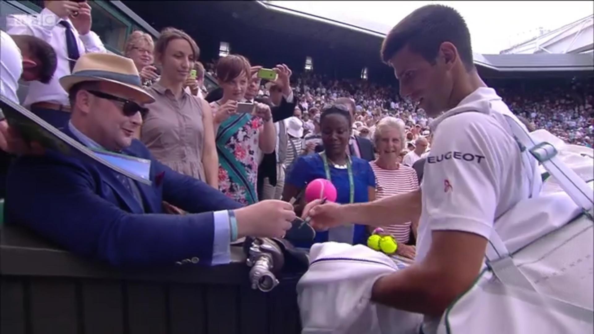 Novak Djokovic creates Wimbledon history by signing a fan's prosthetic leg