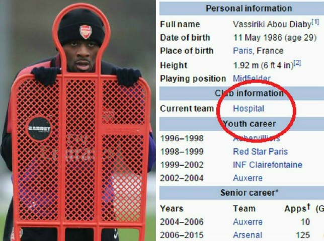 Arsenal news  Abou Diaby has been ruthlessly trolled on Wikipedia by ... 63dbd9584