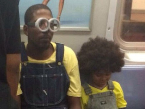 World's coolest dad takes son to see Minions film, dressed as a giant Minion