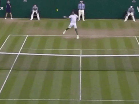 Gael Monfils hits the best smash you'll see at Wimbledon 2015