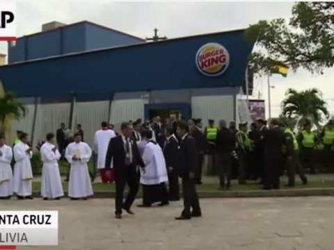 Pope Francis paid a flying visit to Burger King in Bolivia