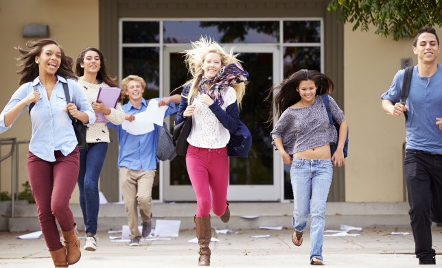 Mandatory Credit: Photo by Business Images/REX Shutterstock (3959624a) MODEL RELEASED High School Pupils Celebrating End Of Term VARIOUS