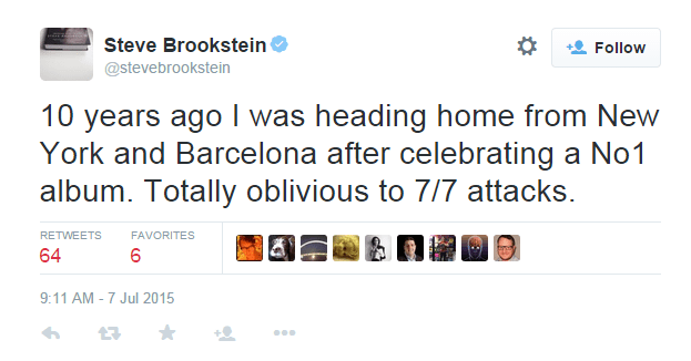 Steve Brookstein is totally oblivious to the inappropriateness of his 7/7 tweet (Picture: Twitter)