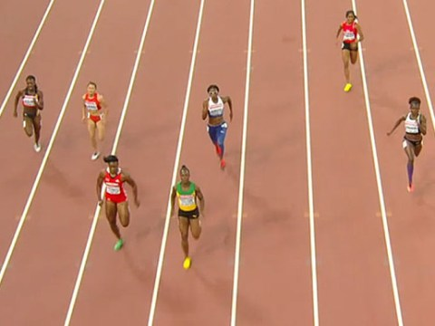 Veronica Campbell-Brown runs in wrong lane at Beijing World Championships, doesn't get disqualified