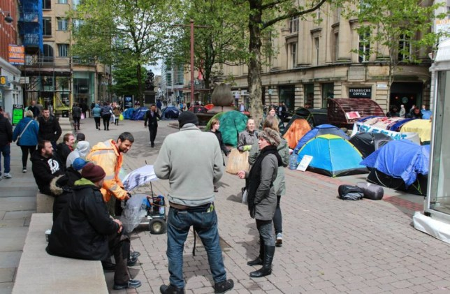 19/05/15  Homeless are evicted from St Peter's Sq are now in St Ann Sq.  And they are no longer in the marquee.  Pic from MEN Syndication    Mitchell Henry House  Hollinwood Avenue  Chadderton  Oldham  OL9 8EF  syndication@men-news.co.uk