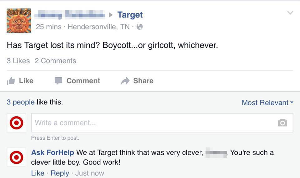 Target's recent decision to end gendered signage in some of its store's kids' departments has gotten a lot of attention lately. Many have applauded the move, while others have disapproved, with some taking their distaste to the retailer's Facebook page to voice their opinions. Facebook user Mike Melgaard knew there would be some negative feedback from the decision and decided to have a little fun with it.