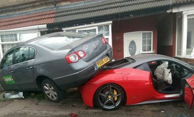 This is the moment an unlucky driver crashed a £220,000 Ferrari hire car into a house - and UNDER a taxi. See SWNS story SWFERRARI; It is understood the driver had borrowed the Ferrari 458 for a family wedding when he smashed into the side of the terraced home in Luton, Bedfordshire, on Sunday night. Miraculously nobody was injured when the red and grey supercar hit a low brick wall, squeezing itself underneath a grey VW Passat taxi. Luxury car hire firm Prestige Lifestyle claim the motor - which had just 4,600 miles on the clock - belonged to them, and has now been written off.