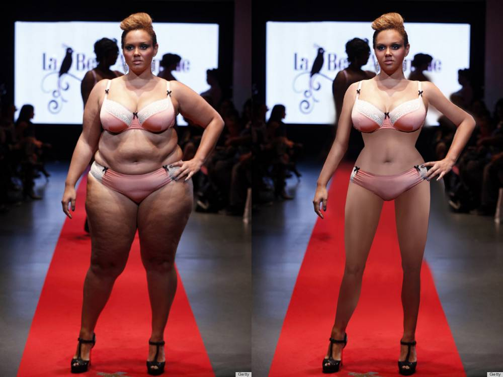 Thinner Beauty or Project Harpoon is a reddit group where people photoshop overweight women to be thin